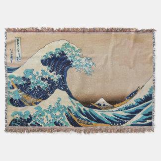 Hokusaiのヴィンテージの日本語による素晴らしい波 スローブランケット