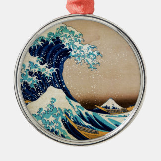 Hokusaiのヴィンテージの日本語による素晴らしい波 メタルオーナメント