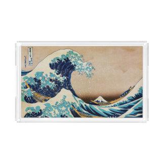 Hokusaiの日本人の芸術による素晴らしい波 アクリルトレー