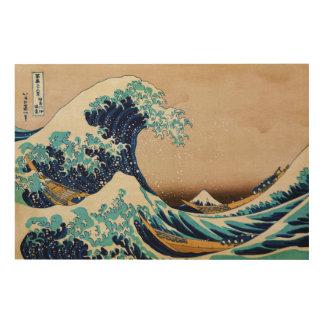 Hokusaiの特大の日本語による素晴らしい波 ウッドウォールアート