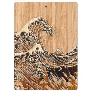Hokusaiの素晴らしい波のタケ木製のスタイルのアクセント クリップボード