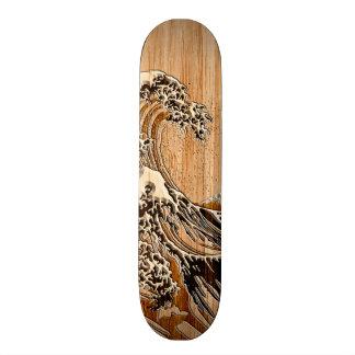 Hokusaiの素晴らしい波のタケ木製のスタイルのアクセント スケートボード