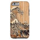 Hokusaiの素晴らしい波のタケ木製のスタイル ケース