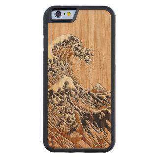 Hokusaiの素晴らしい波のタケ木製のスタイル CarvedメープルiPhone 6バンパーケース