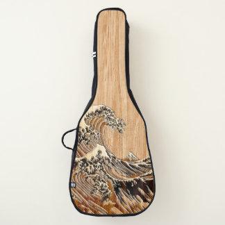 Hokusaiの素晴らしい波のタケ木製の象眼細工のスタイル ギターケース