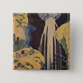 Hokusaiの素晴らしい波のプリントの絵画 5.1cm 正方形バッジ