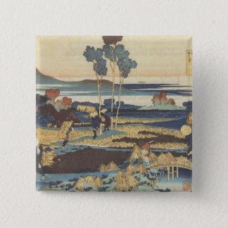 Hokusaiの芸術の絵画の景色 5.1cm 正方形バッジ