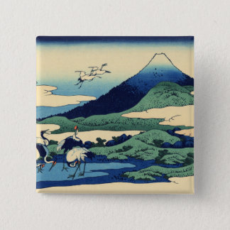 Hokusaiの芸術の絵画山 5.1cm 正方形バッジ