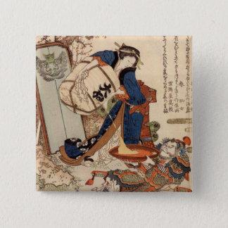 Hokusaiの芸術の絵画 5.1cm 正方形バッジ