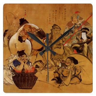 Hokusaiの「幸運の7人の神」の時計 スクエア壁時計
