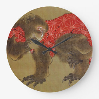 Hokusaiの「猿」の時計 ラージ壁時計