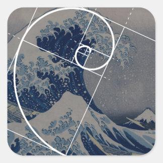 Hokusaiはフィボナッチの金比率に会います スクエアシール