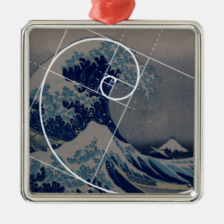 Hokusaiはフィボナッチの金比率に会います メタルオーナメント