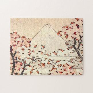 Hokusai富士山の桜のパズル ジグソーパズル