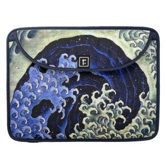 Hokusai著フェミニンな波(詳細) MacBook Proスリーブ