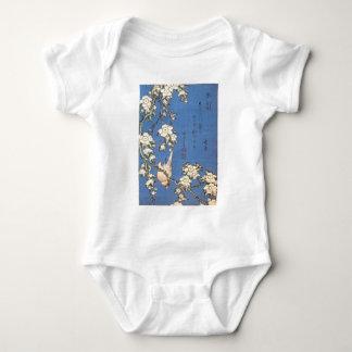 Hokusai著泣くさくらんぼそしてBullfinch ベビーボディスーツ