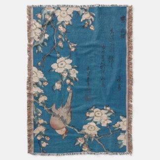Hokusai著泣くさくらんぼの枝のBullfinch スローブランケット