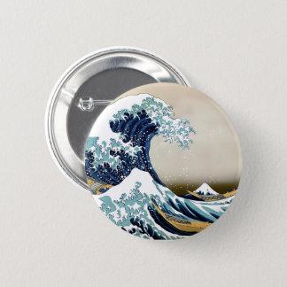 Hokusai著神奈川を離れた元通りにされた素晴らしい波 缶バッジ