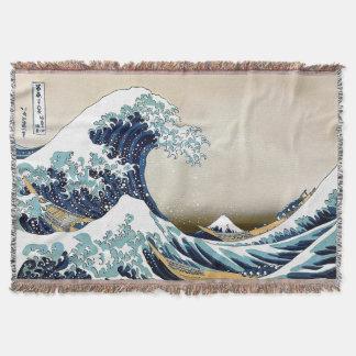 Hokusai著神奈川を離れた高品質で素晴らしい波 スローブランケット