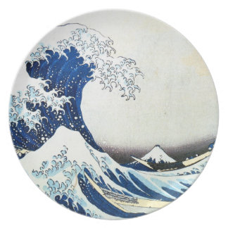 "Hokusai著""素晴らしい波""の日本のな絵画 プレート"