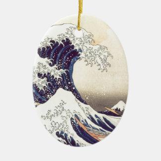 Hokusai 「素晴らしい波」の楕円形のオーナメント セラミックオーナメント