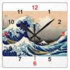 """Hokusai , """"KANAGAWAOKINAMIURA"""" スクエア壁時計"""