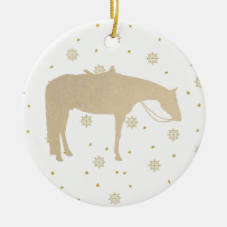 Holiday Parchment Gold White Western Horse セラミックオーナメント