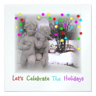 """HOLIDAY PARTY INVITATIONS """"CHERUBS IN SNOWY PARK"""" カード"""
