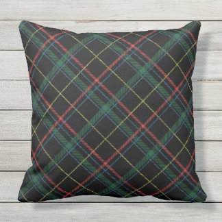 Holiday Plaid Throw Pillow クッション