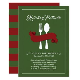 Holiday Potluck Dinner Invitation カード