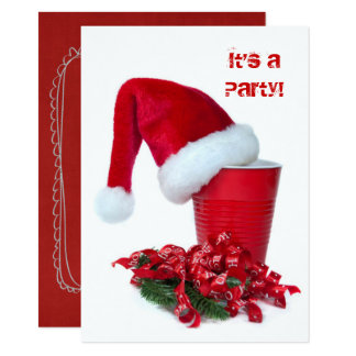 Holiday Red Party Cup and Cap カード