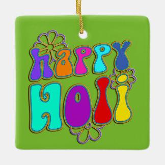 holiES -幸せなHOLIによって着色される輪郭の花1 セラミックオーナメント