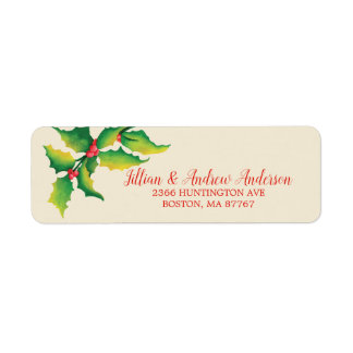 Holly Berry Christmas Address Label ラベル