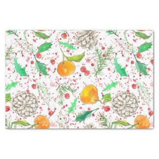 Holly Berry Cranberries Tangerine Watercolor Fruit 薄葉紙