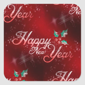 holly happy new year スクエアシール