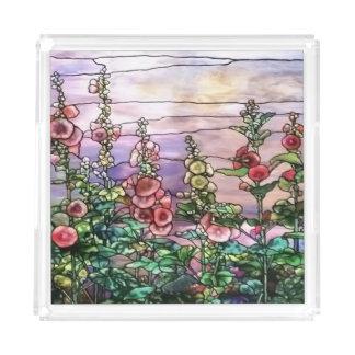 Hollyhocksのヴィンテージの花のTiffanyのステンドグラス アクリルトレー