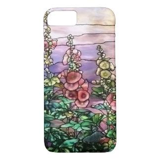 Hollyhocksのヴィンテージの花のTiffanyのステンドグラス iPhone 8/7ケース