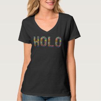 HOLOのグリッターのレーザー光線写真プリントVの首のTシャツ Tシャツ