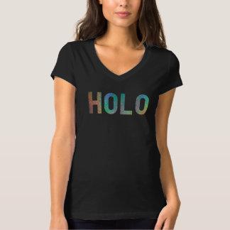 HOLOの線形レーザー光線写真プリントVの首のTシャツ Tシャツ