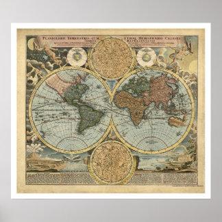 Homann 1716年著世界の豪華な地図 ポスター