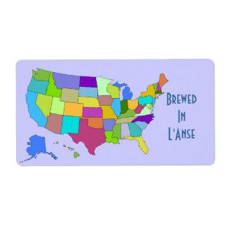 Homebrewingビールラベルは米国の地図であなたの町を醸造しました ラベル
