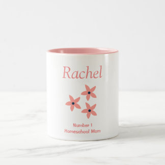 Homeschoolのピンクおよび白人の花のお母さん ツートーンマグカップ