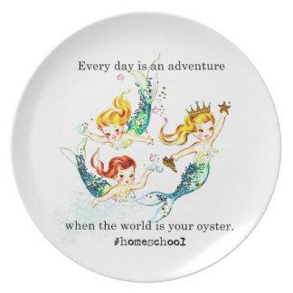 Homeschoolの世界はカキのヴィンテージの人魚のプレートです ディナー皿