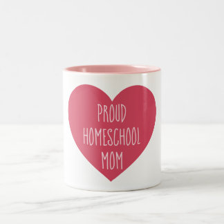 Homeschoolの美しいピンクおよび白人の誇り高いお母さん ツートーンマグカップ