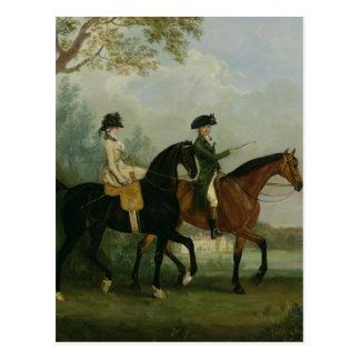 Hon。 彼女の兄弟とのMarcia Pittの乗馬 ポストカード