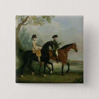 Hon。 彼女の兄弟とのMarcia Pittの乗馬 5.1cm 正方形バッジ