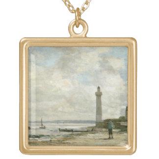 Honfleur 1864-66年の灯台(パネルの油) ゴールドプレートネックレス