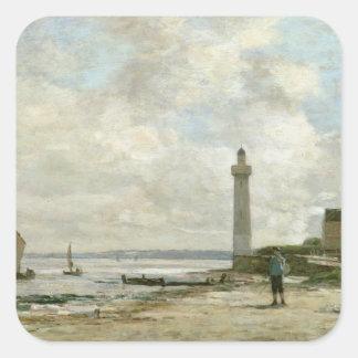 Honfleur 1864-66年の灯台(パネルの油) スクエアシール