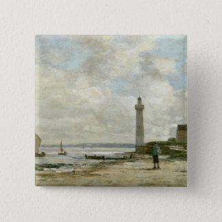 Honfleur 1864-66年の灯台(パネルの油) 5.1cm 正方形バッジ