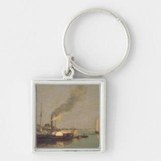 Honfleur。 La Jetee 1854-57年(パネルの油) キーホルダー